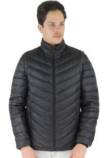 Jaqueta Masculina 2 Em 1 (Jaqueta E Colete) De Pluma Ultralight Alpine - Masculino-Preto