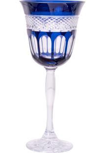 Taça De Cristal Lodz Para Vinho De 220 Ml – Azul