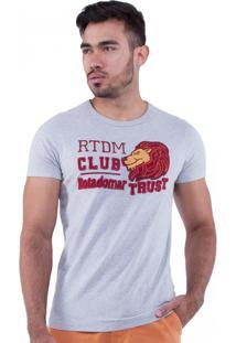 Camiseta Rota Do Mar Bordado Leão Cinza