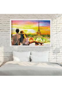 Quadro Love Decor Com Moldura Amour Parisien Branco - Médio