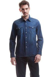 Camisa Jeans Levis Masculina Barstow Western Azul Médio Azul