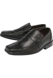 Sapato Couro Clauss Pespontos Básico Preto