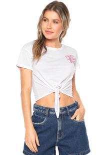 Camiseta Cropped Hang Loose Enjoy The Ride Branca