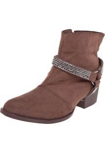 Bota Dafiti Shoes Cano Curto Strass Marrom