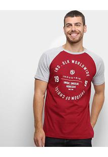 Camiseta Raglan Industrie Masculina - Masculino-Bordô
