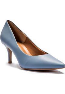 Scarpin Salto Medio Liso Azul