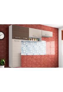 Cozinha Compacta Suspensa Anita 05 Portas Amêndoa/Capuccino - Poquema