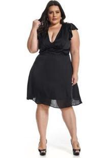 Vestido Plus Size Midi Lala Dubi - Feminino-Preto