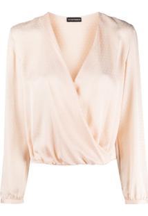 Emporio Armani Wrap Front Silk Blouse - Neutro