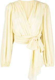 Dolce & Gabbana Blusa Cropped Com Transpasse - Amarelo