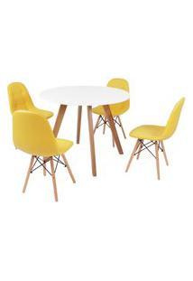 Mesa Inês 100Cm Branca + 4 Cadeiras Eiffel Botonê - Amarela