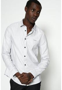 "Camisa Slim Fit Listrada ""Calvin Klein Jeansâ®"" - Branca Calvin Klein"