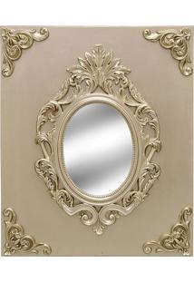Espelho Com Moldura Em Relevo- Espelhado & Dourado- Mabruk
