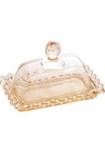 Manteigueira Cristal Pearl Âmbar 11X7Cm