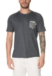 Camiseta Timberland Raglan Printed Pocket Masculina - Masculino-Cinza