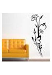 Adesivo De Parede Floral Modelo 15 (Floral Com Borboleta) - M 104X37Cm