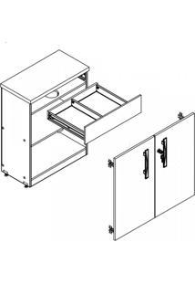 Armário Para Escritório 2 Portas 1 Gaveta Mega Plata Móveis Amêndoa/Ruggine