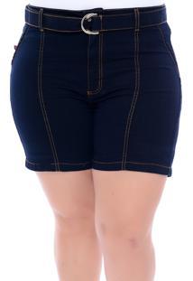 Bermuda Jeans Plus Size Com Cintinho Azul Cambos