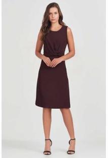 Vestido Detalhe Rubinella Nó Feminino - Feminino-Roxo