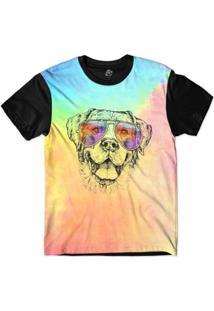 Camiseta Bsc Animais Hipster Labrador Sublimada - Masculino-Rosa