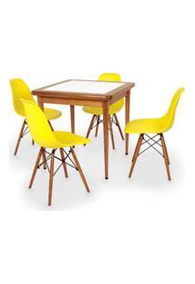 Conjunto Mesa De Jantar Em Madeira Imbuia Com Azulejo + 4 Cadeiras Eames Eiffel - Amarelo