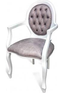 Cadeira Com Braço Medalhão Capitonê Design De Luxo Peça Artesanal