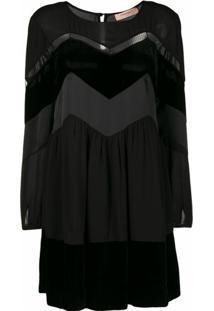Twinset Zig Zag Panel Mini Dress - Preto