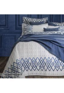 Conjunto De Cobre-Leito King Size- Branco & Azul- 3Psultan
