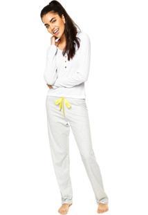 Pijama Malwee Liberta Laço Listas Branco/Cinza/Amarelo