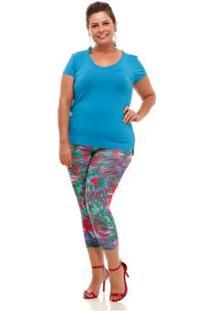 Blusa Melinde Plus Size Básica New Feminina - Feminino-Azul