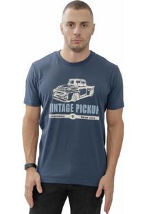 Camiseta Cheiro De Gasolina Vintage Pickup Azul Marinho