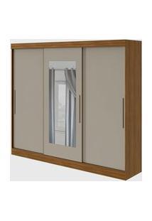 Guarda Roupa Casal C/ Espelho 3 Portas 4 Gavetas Montebello Rovere Naturale/Off-White Móveis Lopas