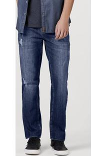 Calça Jeans Masculina Em Algodão Com Lavagem E Destroyed