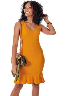 Vestido Curto Com Decote V Amarelo