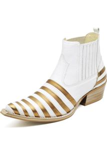 Botina Bota Country Bico Fino Top Franca Shoes Verniz Dourado / Branco