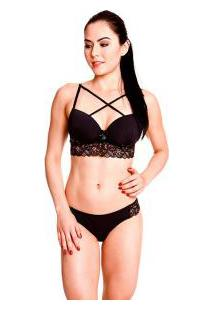 Conjunto Strappy Bra Push-Up Nalle (6142) Renda