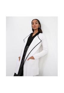 Casaco Alongado Com Ponteiras E Detalhe Em Material Sintético   Cortelle   Branco   G