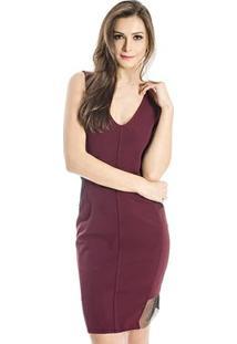 Vestido Slim Calvin Klein - Feminino-Vinho