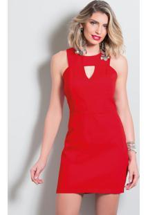 Vestido Tubinho Vermelho Quintess Com Vazado