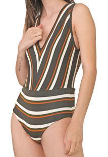 Body Dress To Tricot Listrado Cinza/Verde