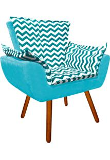 Poltrona Decorativa Opala Suede Compos㪠Estampado Zig Zag Verde Turquesa D78 E Suede Azul Turquesa - D'Rossi. - Azul - Dafiti