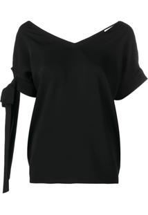 P.A.R.O.S.H. Straps On Sleeve Blouse - Preto
