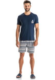 Pijama Bruno Slim Curto Azul Scuba/P