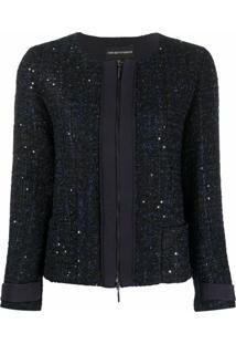 Emporio Armani Jaqueta De Tweed Com Zíper - Azul