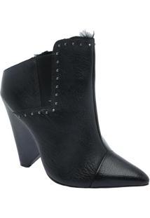 Ankle Boot Paula Com Elástico - Preto - Salto: 12Cmle Lis Blanc