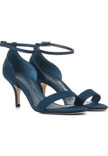 Sandália Couro Capodarte Salto Fino Médio Feminina - Feminino-Azul Escuro