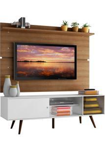 Rack Madesa Cairo E Painel Para Tv Atã© 65 Polegadas Com Pã©S De Madeira - Branco/Rustic Branco - Branco - Dafiti