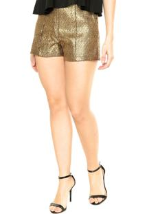 Short Lança Perfume Tweed Dourado