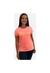 T-Shirt Camiseta Feminina Girlboss Manga Curta Laranja Neon