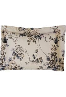 Porta Travesseiro Desire Estampado 1 Pç 200 Fios Flor Caqui